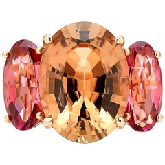 18 Karat Rose Gold Champagne and Pink Tourmaline Ring with Diamonds