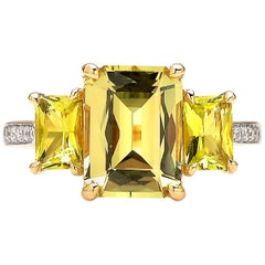 18 Karat Yellow Gold Chrysoberyl, Tourmaline and Diamond Ring