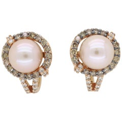 Pearl and Diamond Lever-Back Earrings
