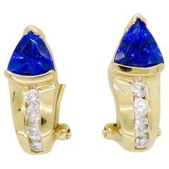 Diamond and Tanzanite Omega Back Earrings