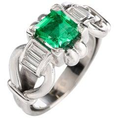 Vintage Asscher Emerald Diamond Platinum Ring