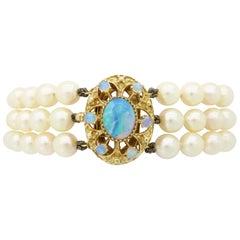 Opal Three-Strand Pearl Bracelet