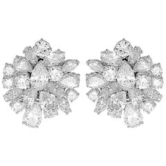 1980 Retro Certified Diamonds D-F 19.0ct Clip-On Big Statement Earrings/Pendant