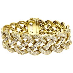 18 Karat Open Braided Diamond Bracelet 12.60 Carat Total Weight