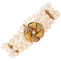 Mikimoto Pearl Diamond Flower Gold Bracelet