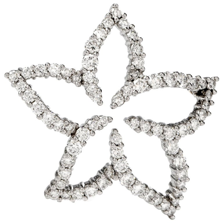 Tiffany & Co. Floral Diamond Platinum Pin Brooch For Sale