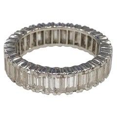 Platinum 3.20 Carat G-H VS Diamond Baguette Bridal Eternity Band Ring
