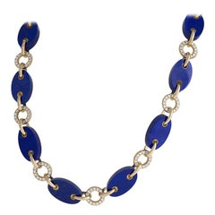 Gold Necklace with Diamonds and Lapis Lazuli by Aletto Brothers