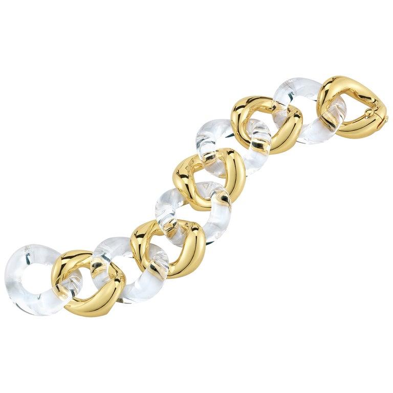 db46f82db9f Seaman Schepps Rock Crystal Gold Link Bracelet