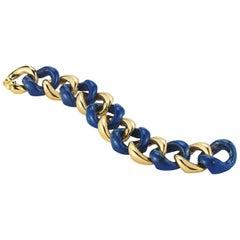 Large Seaman Schepps Lapis Gold Link Bracelet