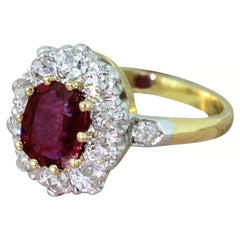 Art Deco 1.04 Carat Natural Ruby and Old Cut Diamond Cluster Ring