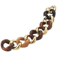 Seaman Schepps Mixed Wood Gold Link Bracelet