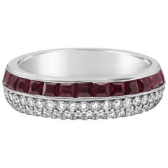 Ruby and Diamond Two-Row Eternity Wedding Band