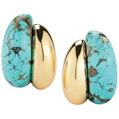 Seaman Schepps Silhouette Turquoise Gold Earrings