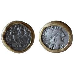 Antike silberne römische Münzen 22-21 Karat Gold Manschettenknöpfe mit Diamant Manschetten