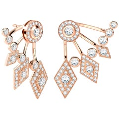 Garrard Twenty Four 18 Karat Rose Gold White Diamond Ear Climber Stud Earrings