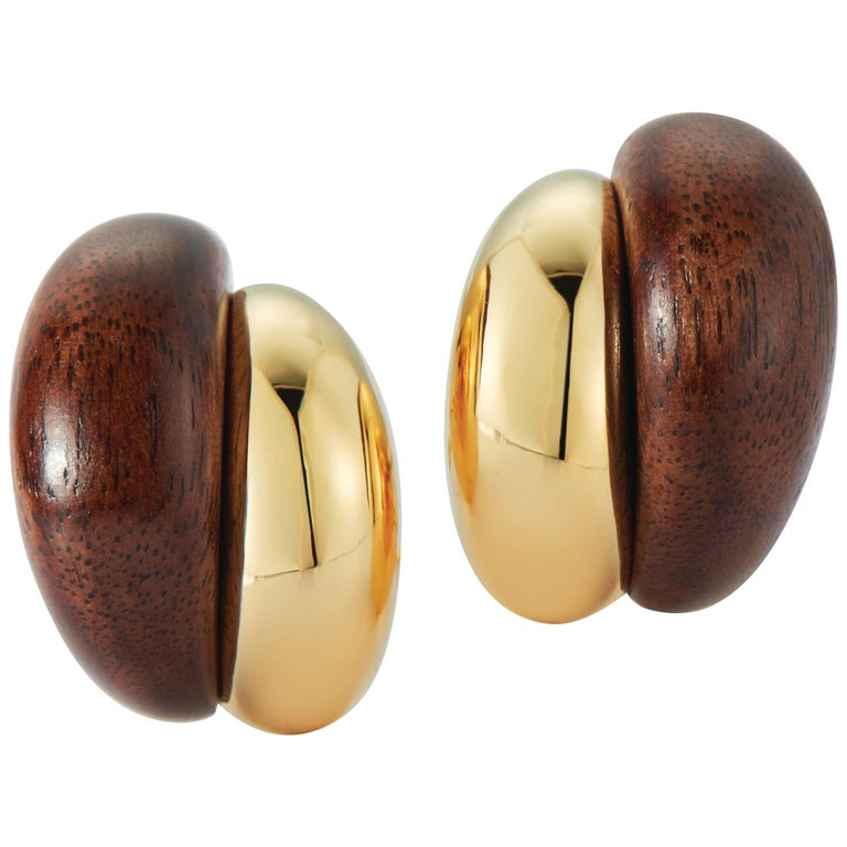 Seaman Schepps Silhouette Wood Gold Earrings For Sale