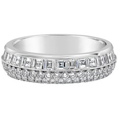 Round and Emerald Cut Diamond Two-Row Eternity Wedding Band