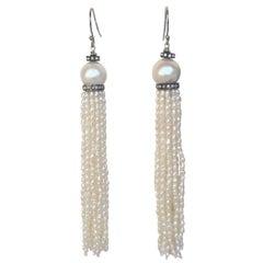 White Rice Pearl Tassel Earrings with Diamonds and 14 Karat White Gold Hooks