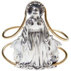 Virgin Mary Cuff Bangle Statement Silver Brass J Dauphin