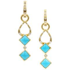 Robin Waynee, Sleeping Beauty Earrings, VS1 Diamonds, Turquoise, 18 Karat Gold