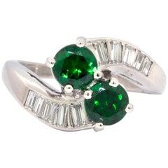 Tsavorite Garnet and Diamond Estate Platinum Ring