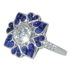 G.I.A. Diamant und Saphir Ring, von Pierre/Famille