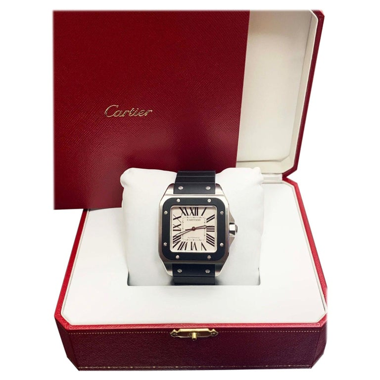 8cb7c784d84 Cartier Santos 100 Ref 3774 W20121 Large Stainless Steel Box and Papers For  Sale