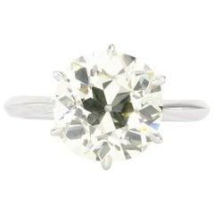 Platinum Old European Cut 4.91 Carat Diamond with Handmade Mounting