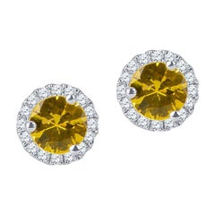 0.75 Carats of Natural Yellow Sapphire Halo Stud Earrings with 0.16 ctw Diamonds