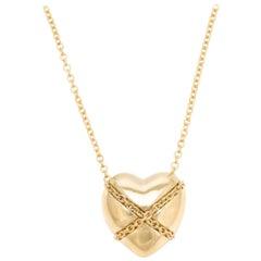 Vintage Tiffany & Co. Cross My Heart Necklace 18 Karat Gold Designer Jewelry