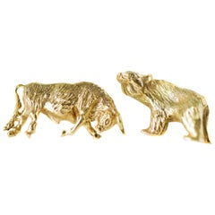 Tiffany & Co. 14 Karat Gold Bear and Bull Cufflinks