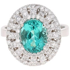 3.71 Carat Apatite Diamond Ring 14 Karat White Gold Cocktail Ring