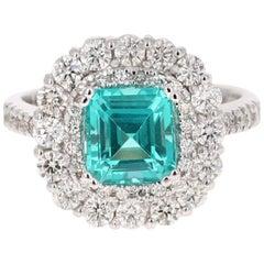 3.40 Carat Apatite Diamond Ring 14 Karat White Gold Ring