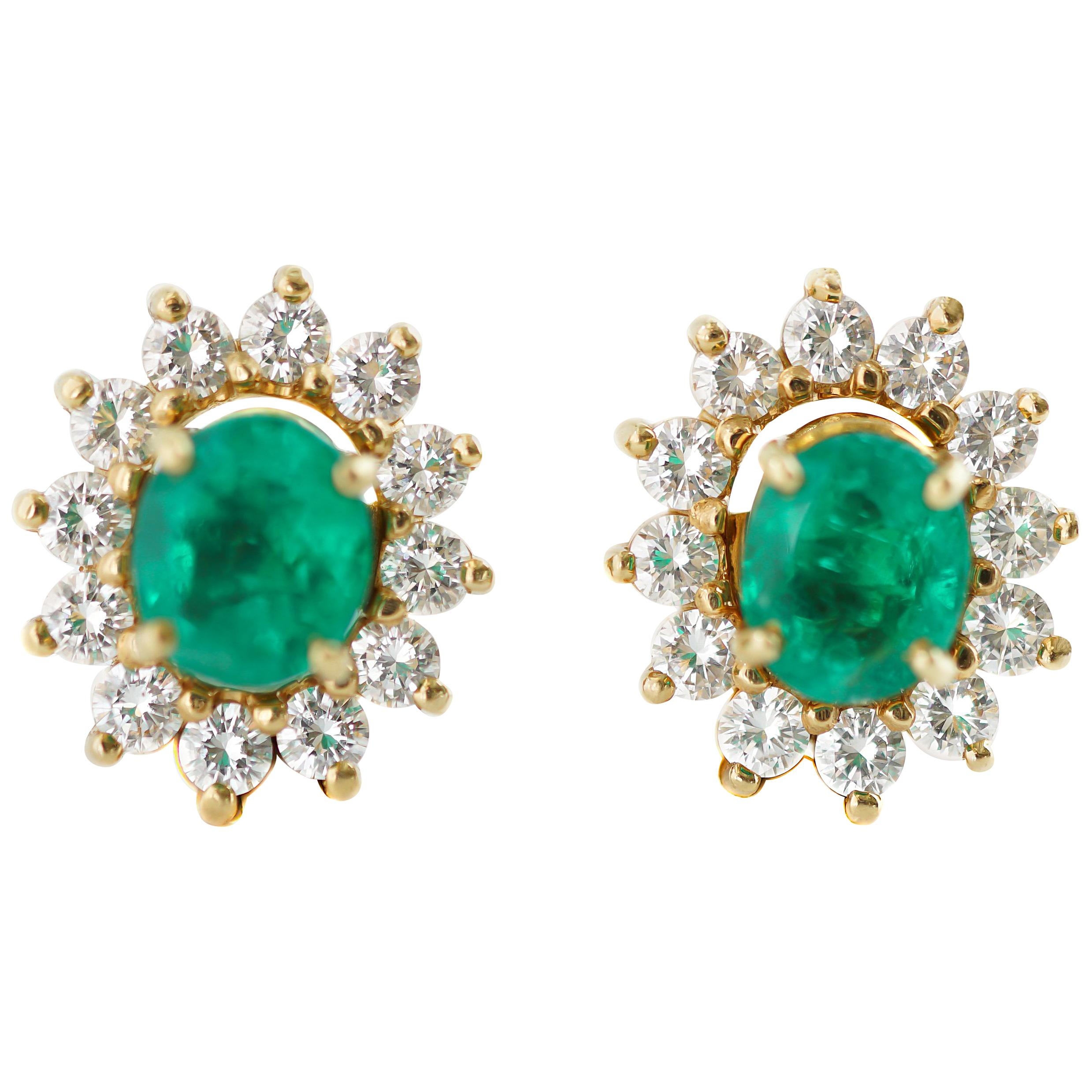 2 Carat Colombian Emerald Stud Earrings with 0.90 Carat Diamond Jackets