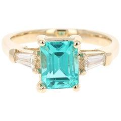 2.70 Carat Emerald Cut Apatite Diamond 14 Karat Yellow Gold Three-Stone Ring