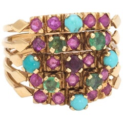 Vintage 5-Band Harem Gemstone Ring 18 Karat Yellow Gold Estate Fine Jewelry