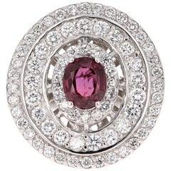 2.41 Carat Ruby Diamond White Gold Cocktail Ring
