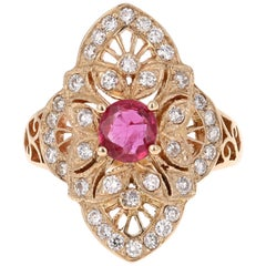 1.34 Carat Ruby Diamond 14 Karat Yellow Gold Art Deco Ring