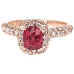 2.26 Carat Spinel Diamond 14 Karat Rose Gold Engagement Ring