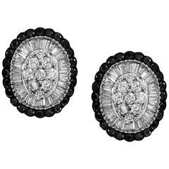 Oval Shape Diamond Earrings with White Black Baguette Diamonds 14 Karat Gold