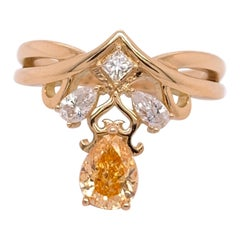 Pear Shape Natural Fancy Intense Yellowish Orange Diamond Ring GIA 0.70 Carat