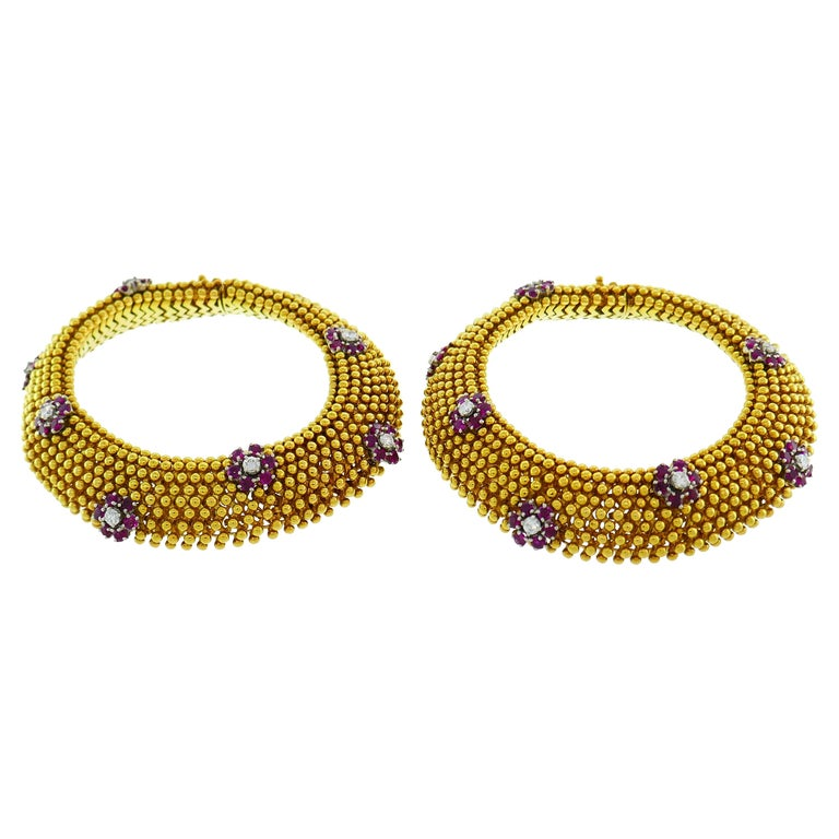 Diamond Ruby Yellow Gold Couscous Bracelet Pair, 1970s 2