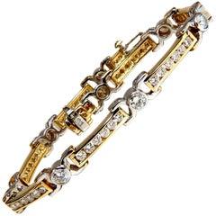 5.05 Carat Natural Round Diamonds Channel Link Bezel Flush Bracelet 14 Karat