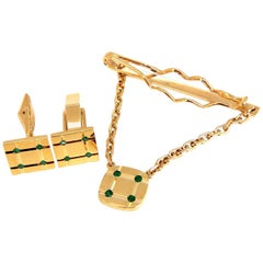 Men's Natural Emerald Cufflinks Tie Tack Chain Gift Set, 14 Karat