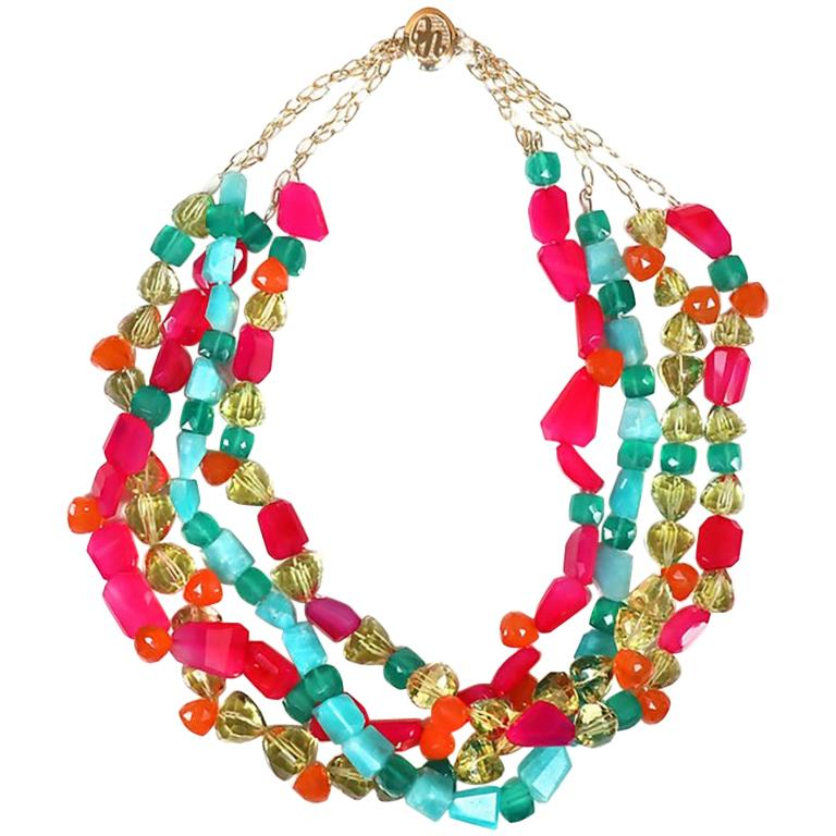 Loving Lilly: Four-Strand Princess Necklace-Carnelian Amazonite Chalcedony Gold For Sale