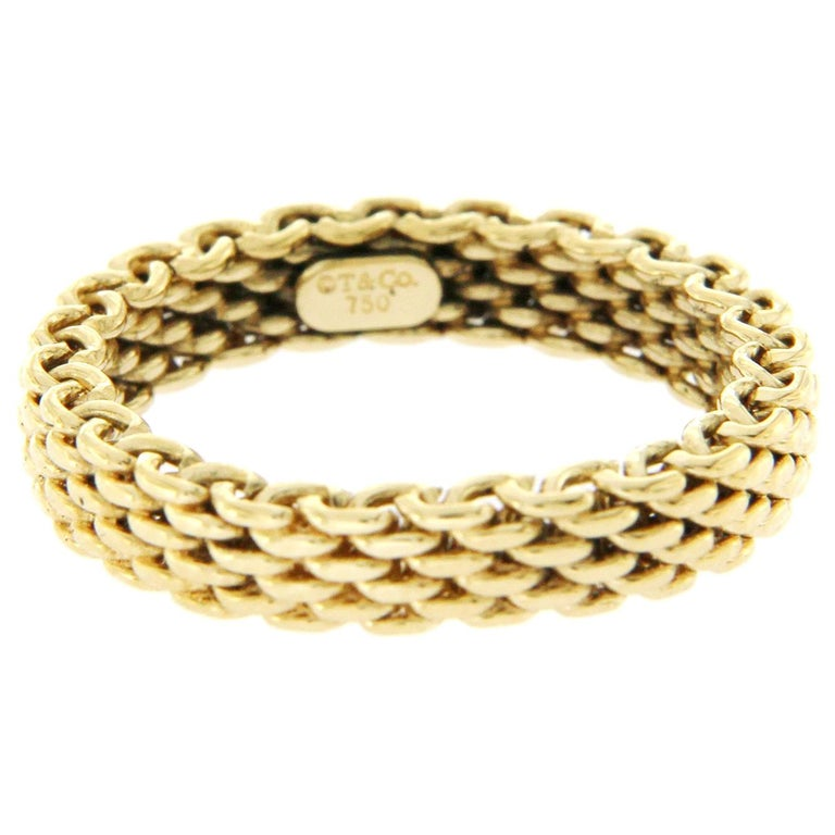 2af4d2b9c Tiffany & Co. 18 Karat Yellow Gold Somerset Narrow Mesh Band Ring For Sale