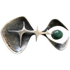 Susan Saunders Cook Sterling Silver Aventurine Abstract American Modern Brooch