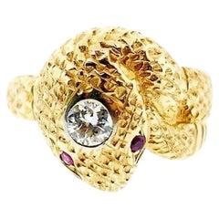 Art Deco Yellow Gold Diamond Snake Ring