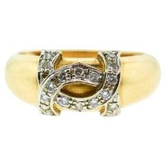Cartier Yellow Gold Diamond Logo Ring